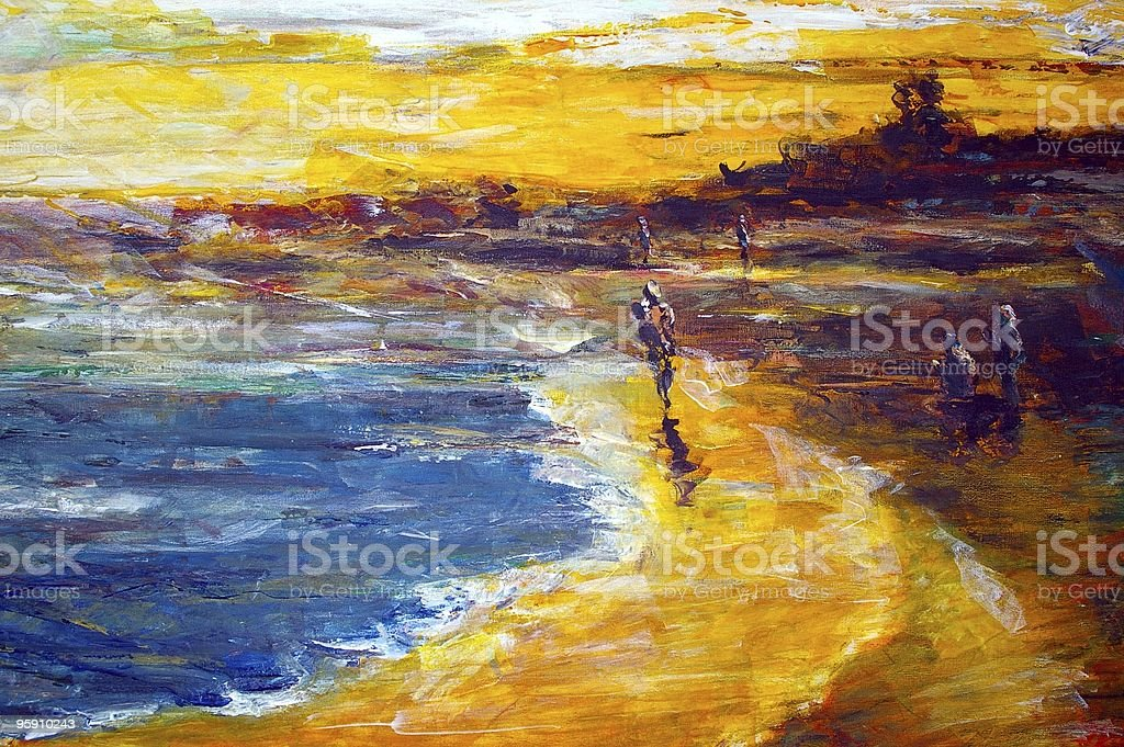 original oil painting on canvas for giclee royalty-free stock vector art
