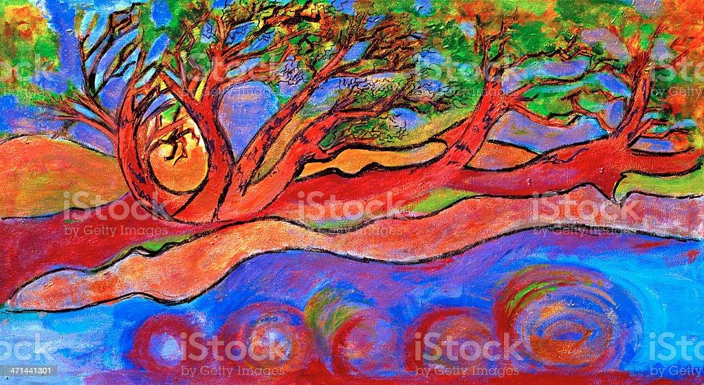 Original Painting, 'Madrona Tree', Acrylic on Canvas royalty-free stock vector art