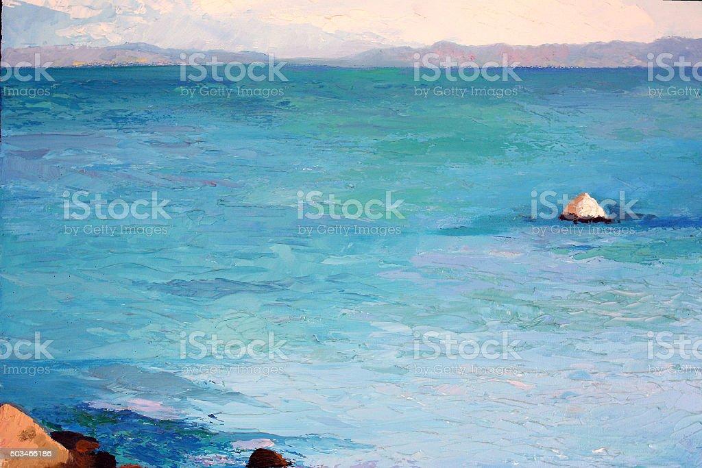 Original painting, oil on canvas, sea in Greece vector art illustration