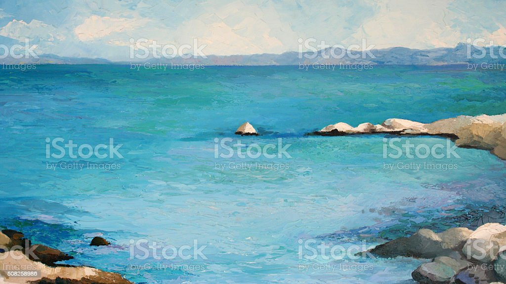 Original painting, oil on canvas, sea in Greece vector art illustration