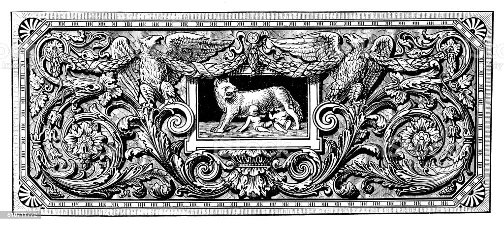 Ornament with Romulus, Remus, and the Capotoline Wolf vector art illustration