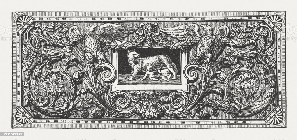 Ornament with Romulus, Remus, and the Capotoline Wolf, published 1880 vector art illustration