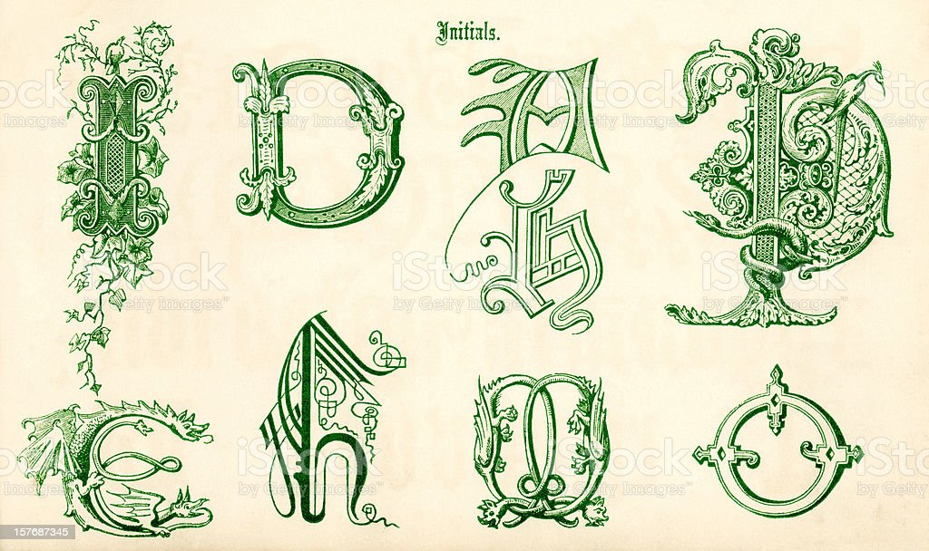 ornamental letters in green sketches royalty-free stock vector art