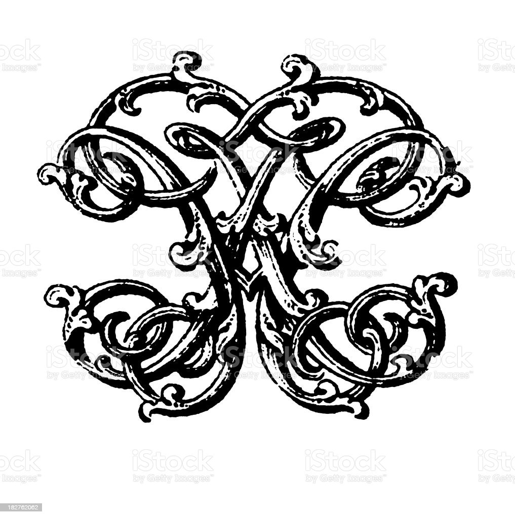 Ornamented Double Monogram | Letters HH royalty-free stock vector art