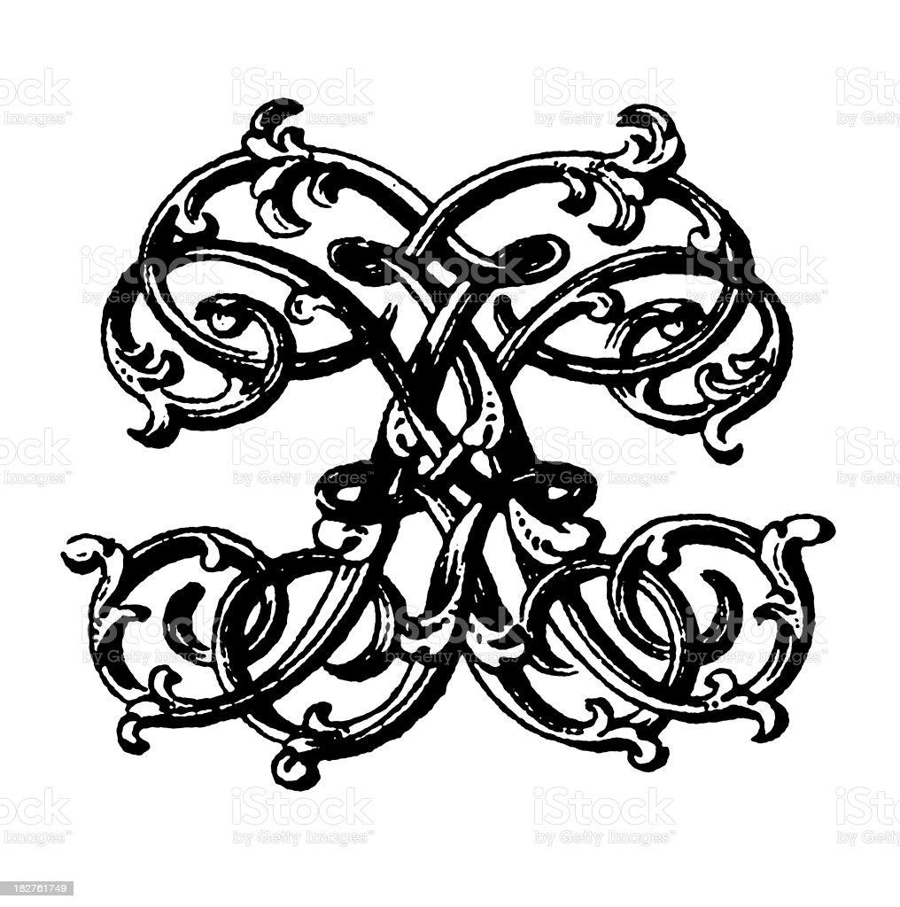 Ornamented Double Monogram | Letters KK royalty-free stock vector art