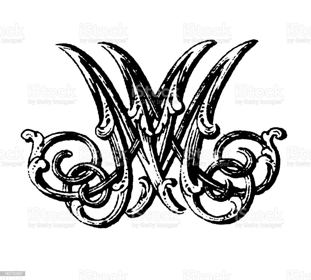 Ornamented Double Monogram | Letters MM vector art illustration