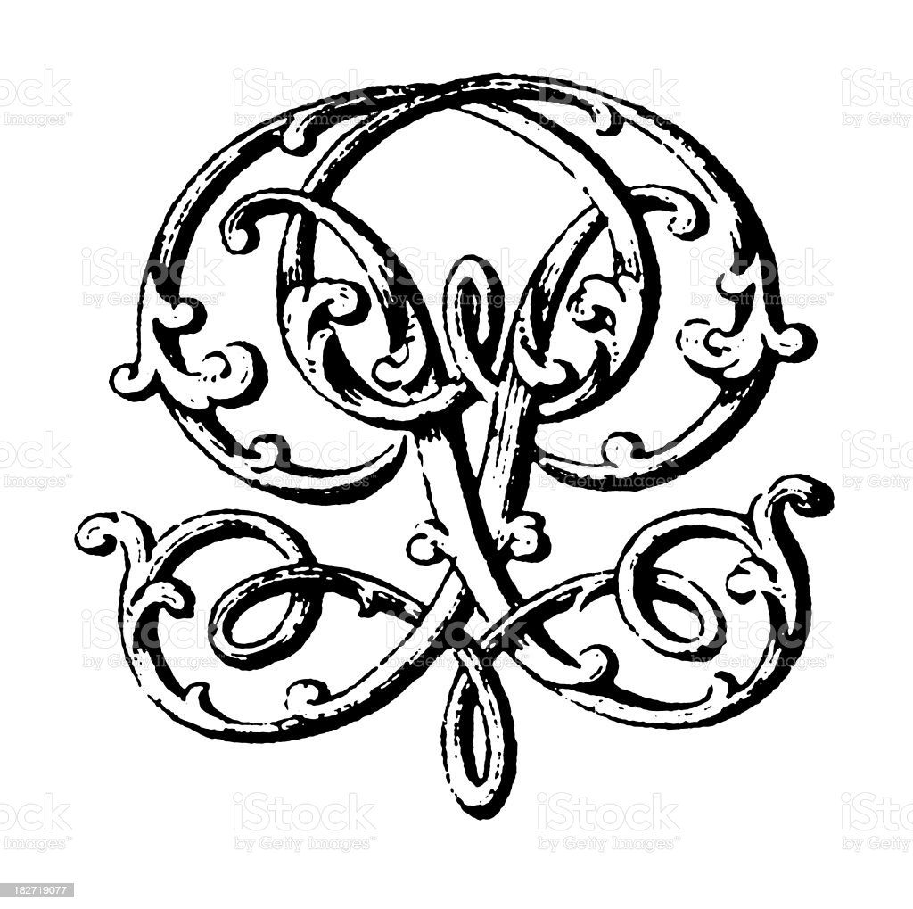 Ornamented Double Monogram | Letters PP royalty-free stock vector art
