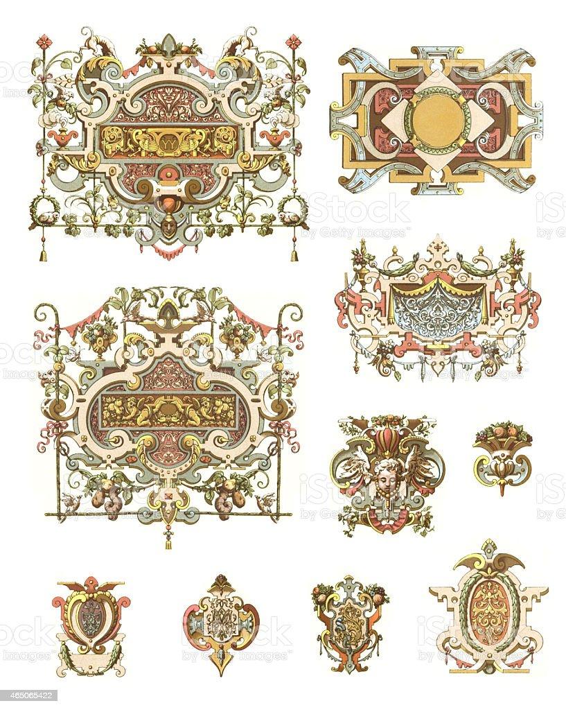 Ornaments France 16th Century vector art illustration