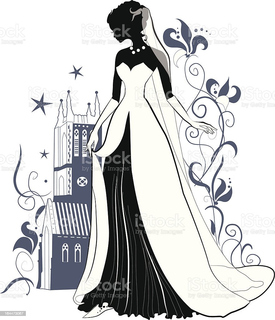 Ornate Bride  Silhouette royalty-free stock vector art