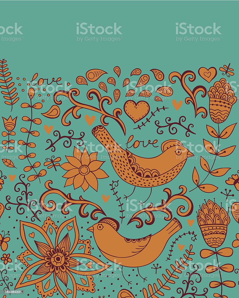 Ornate floral  texture with birds royalty-free stock vector art