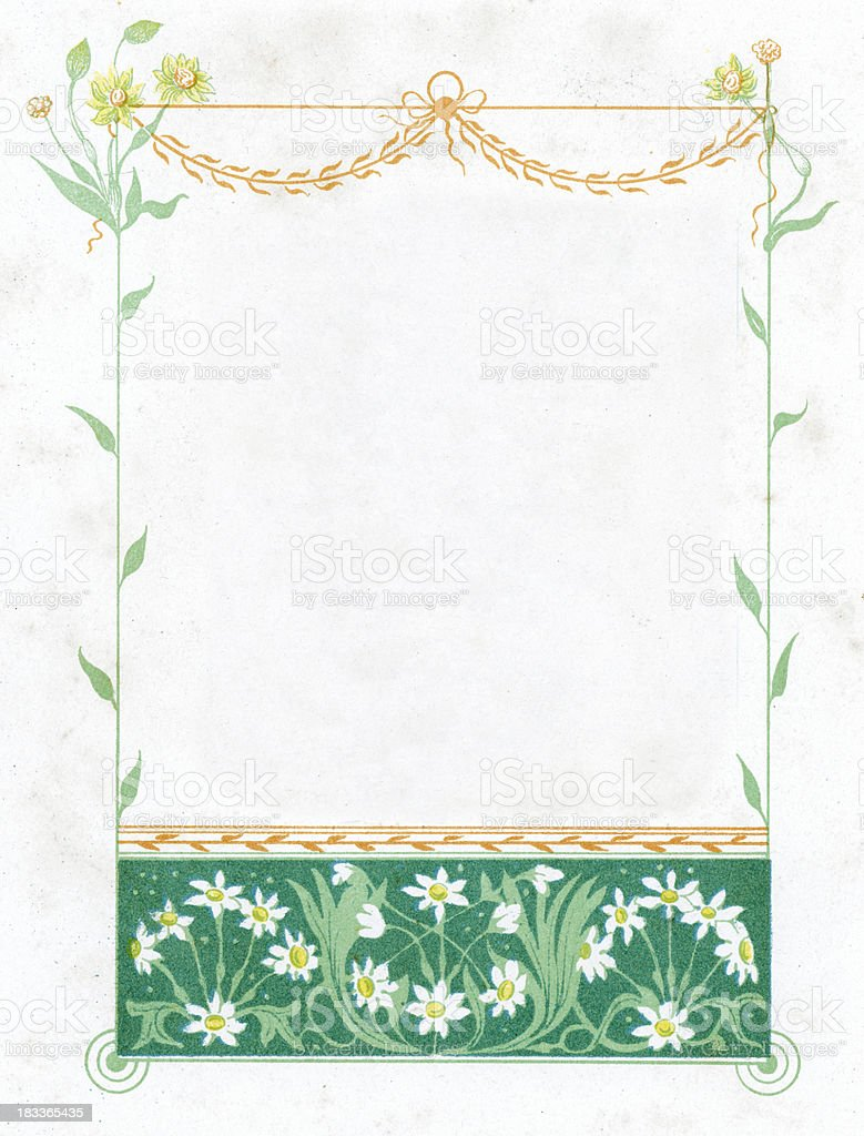Ornate flower border picture frame vector art illustration