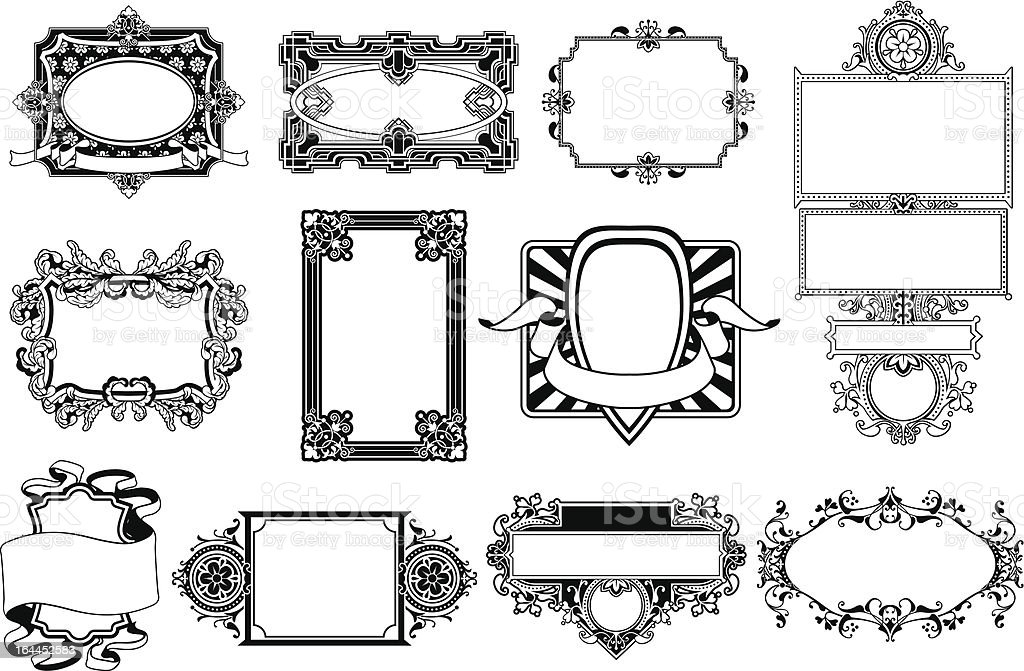 Ornate frame and border design elements royalty-free stock vector art