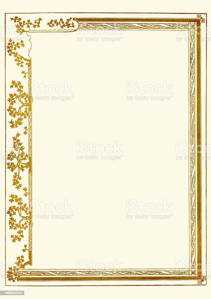 ornate gold certificate border stock vector art 469634504