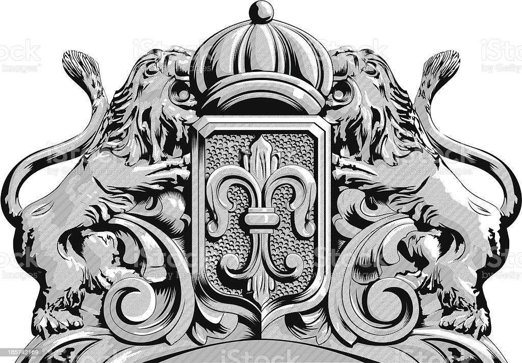 Ornate headboard coat of arms royalty-free stock vector art