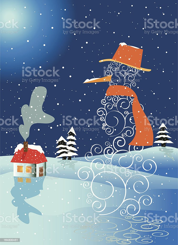 Ornate snowman with house royalty-free stock vector art