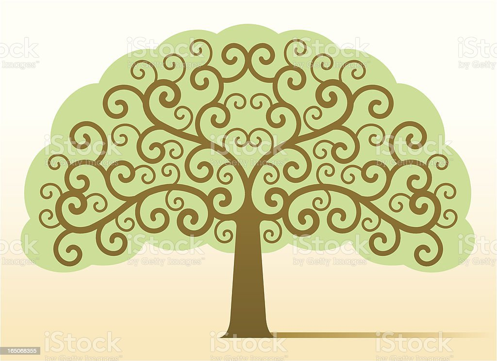 Ornate tree with leaves royalty-free stock vector art