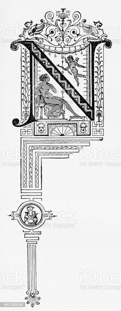"Ornate Victorian Capital Letter ""N"" Circa 1887 vector art illustration"