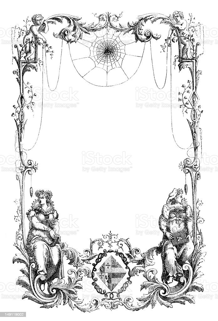 ornate Victorian frame engraving vector art illustration