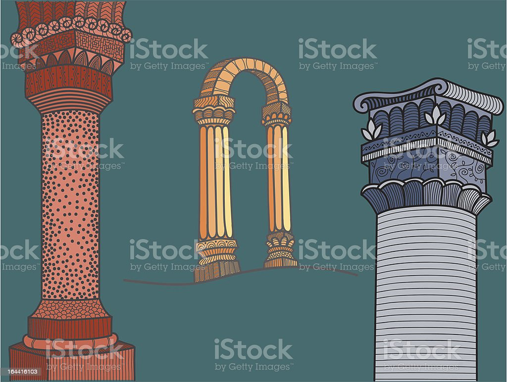 ornated columns vector art illustration
