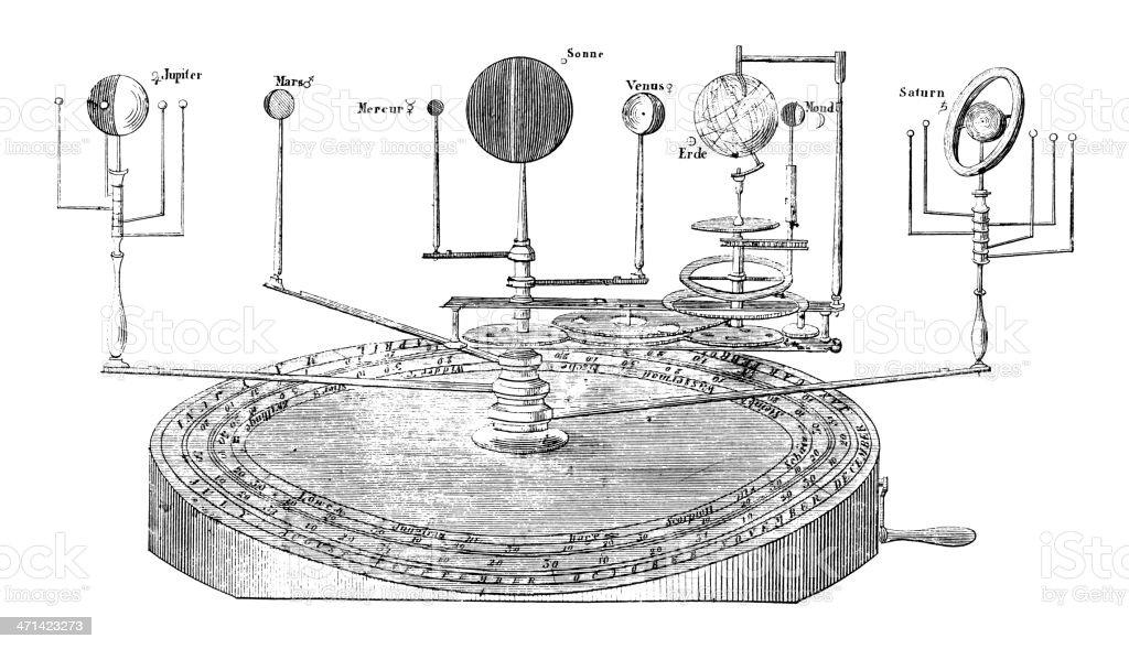 Orrery by John Rowley | Antique Scientific Laboratory Equipment Illustrations vector art illustration