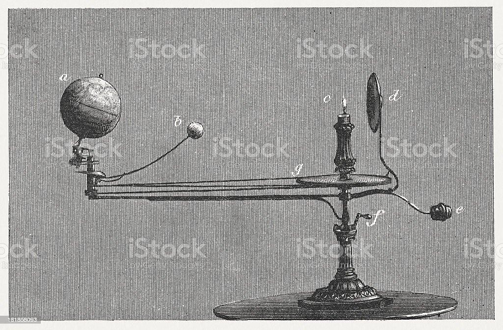 Orrery (Tellurium) vector art illustration