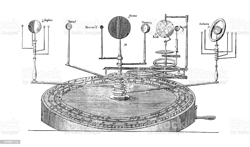 Orrery or Illustration of the Solary System by John Rowley vector art illustration