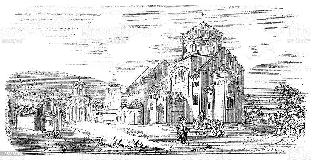 Orthodox monastery Studenica, Serbia vector art illustration