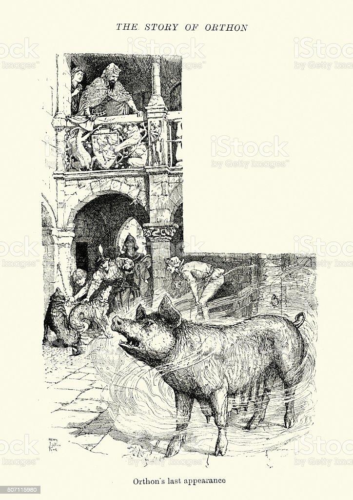 Orthon's last appearance vector art illustration