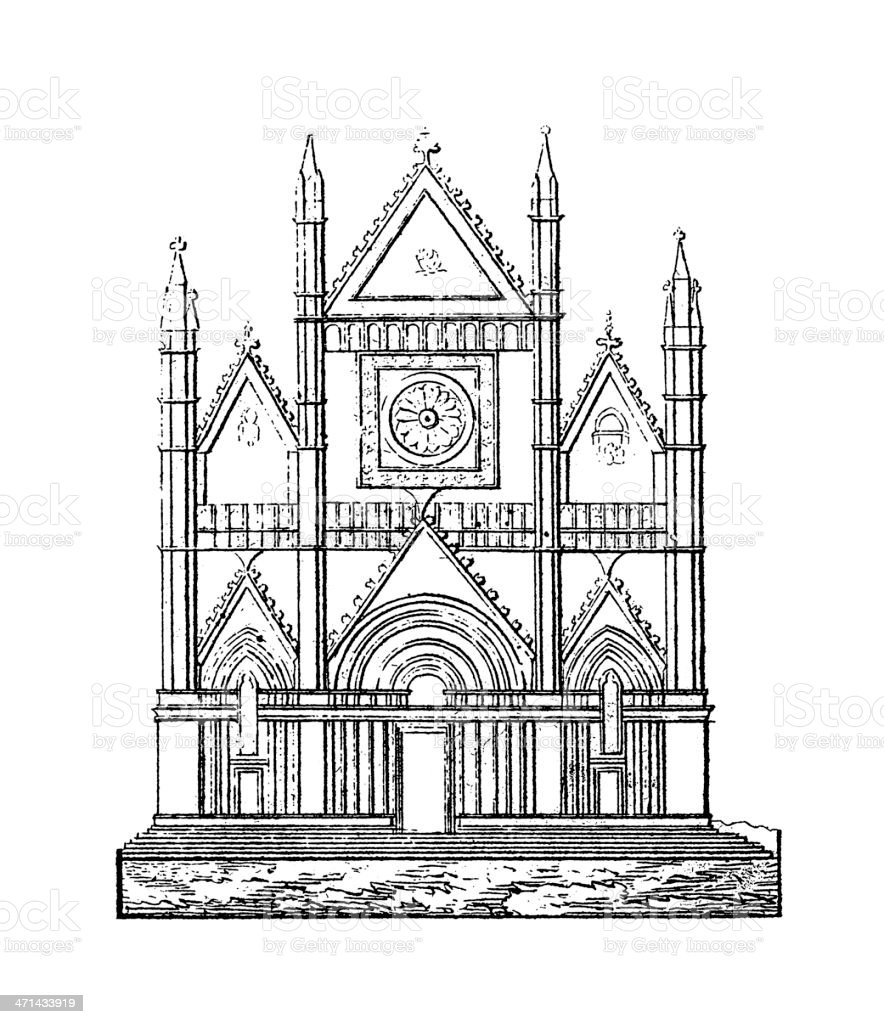 Orvieto Cathedral, Italy | Antique Architectural Illustrations royalty-free stock vector art