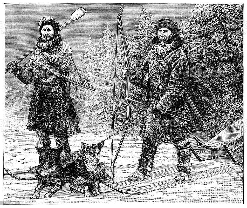 Ostiak hunters in Siberia (1882 engraving) royalty-free stock vector art