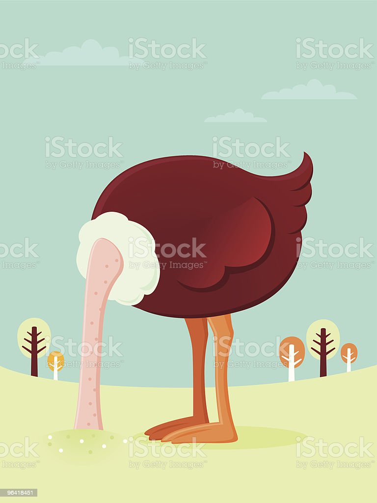 Ostrich burying his head in the sand vector art illustration