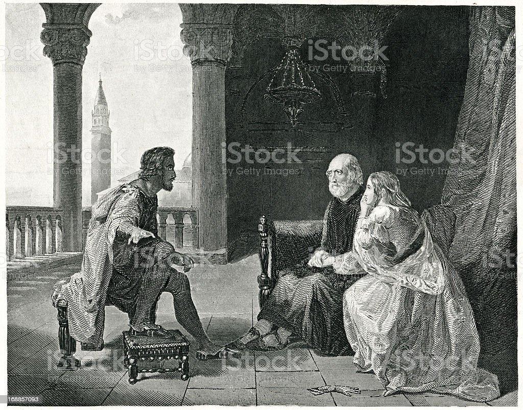Othello Relating His Adventures vector art illustration