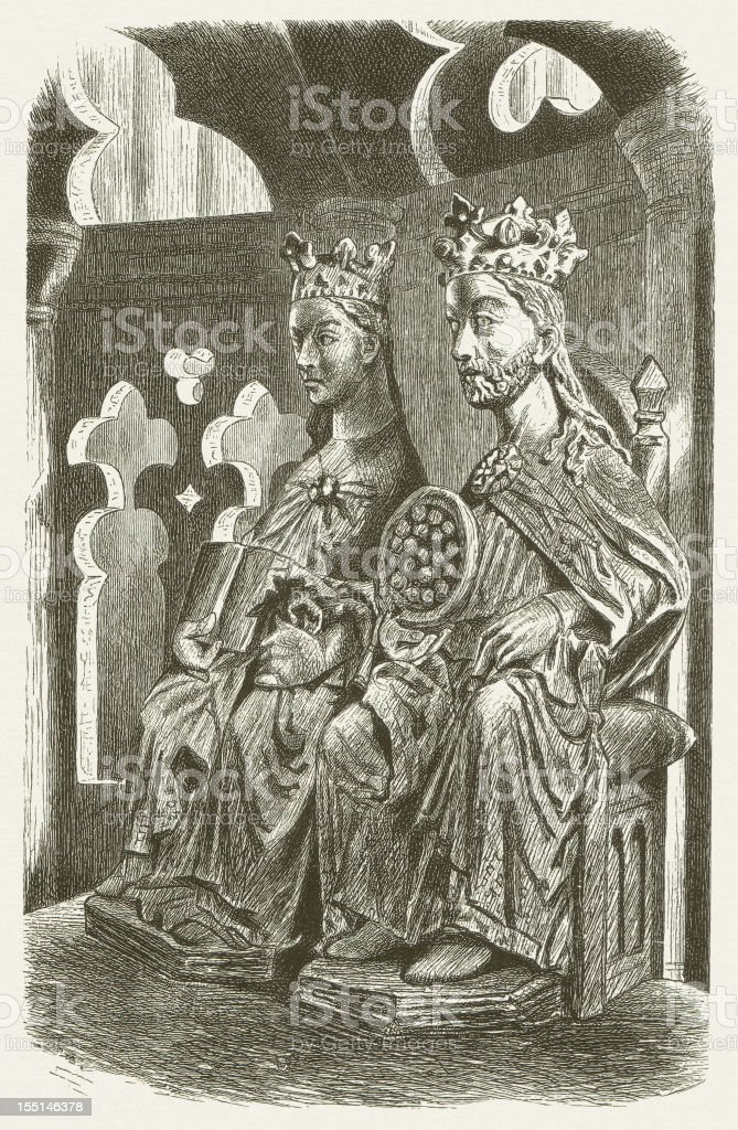 Otto I and Edgitha, Magdeburg Cathedral, wood engraving, published 1880 vector art illustration