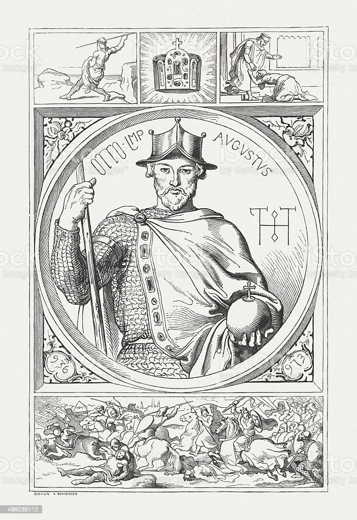 Otto I (912-973), Holy Roman Emperor, published in 1876 vector art illustration