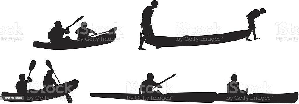 Outdoor adventures kayaking royalty-free stock vector art