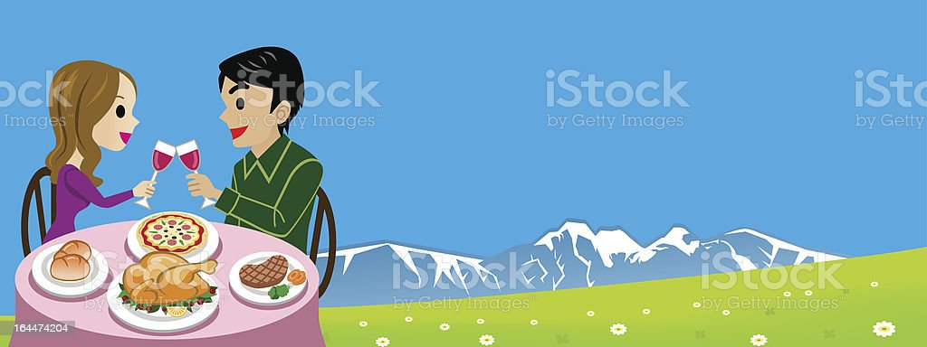 Outdoor dining royalty-free stock vector art