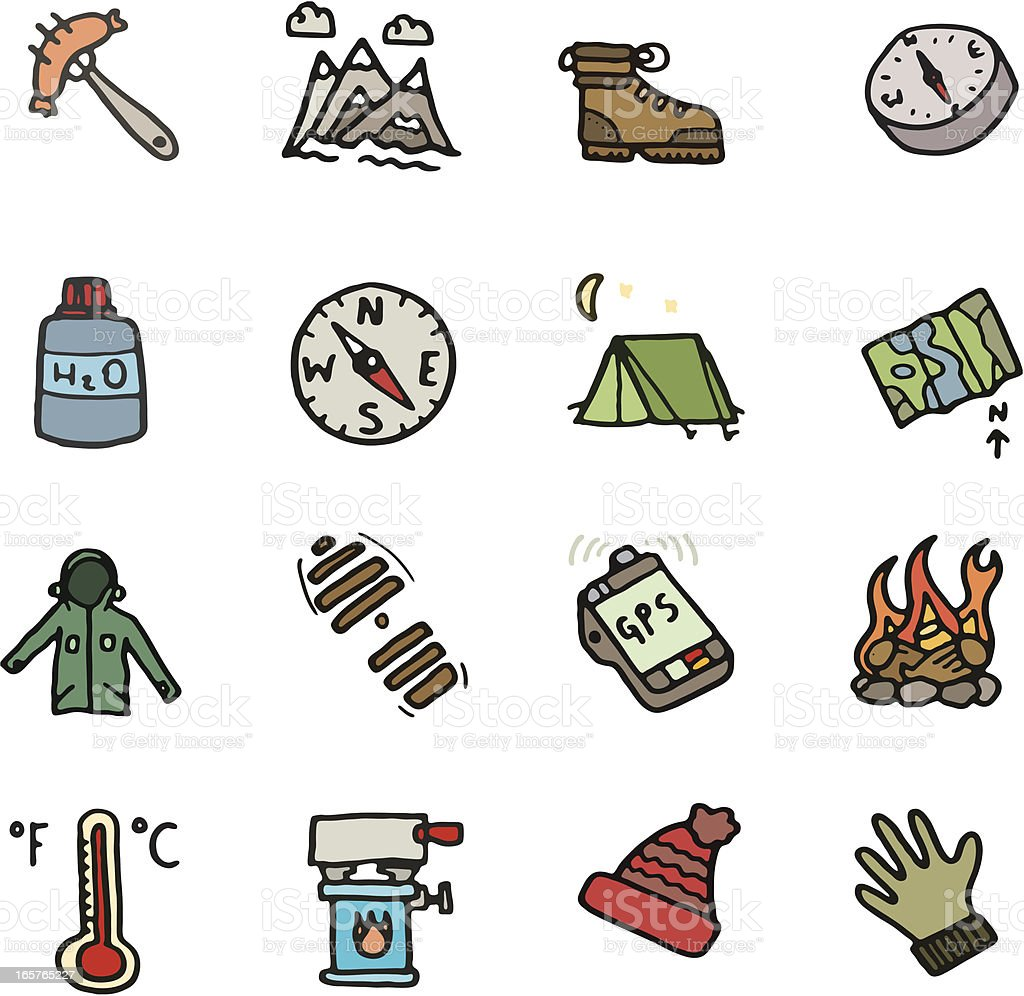 Outdoor doodle icon set royalty-free stock vector art