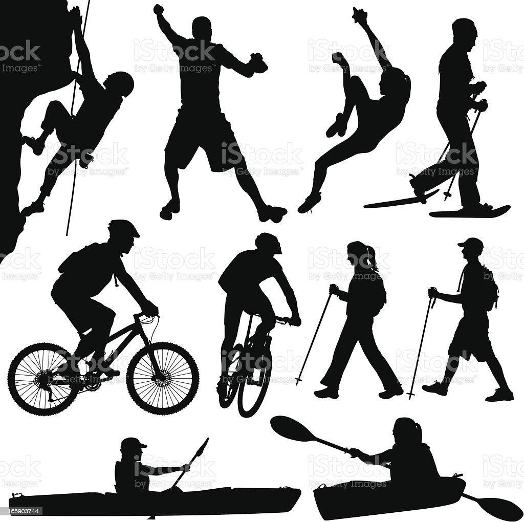 Outdoors People Hiking Kayaking Climbing Biking And Snowshoeing vector art illustration