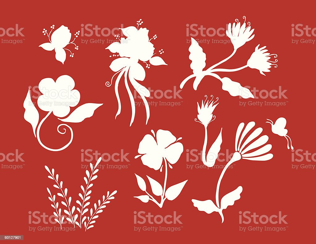 outline floral group royalty-free stock vector art