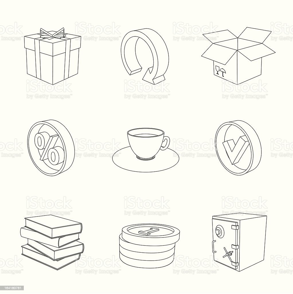 outline gray 3D icon set 04 royalty-free stock vector art