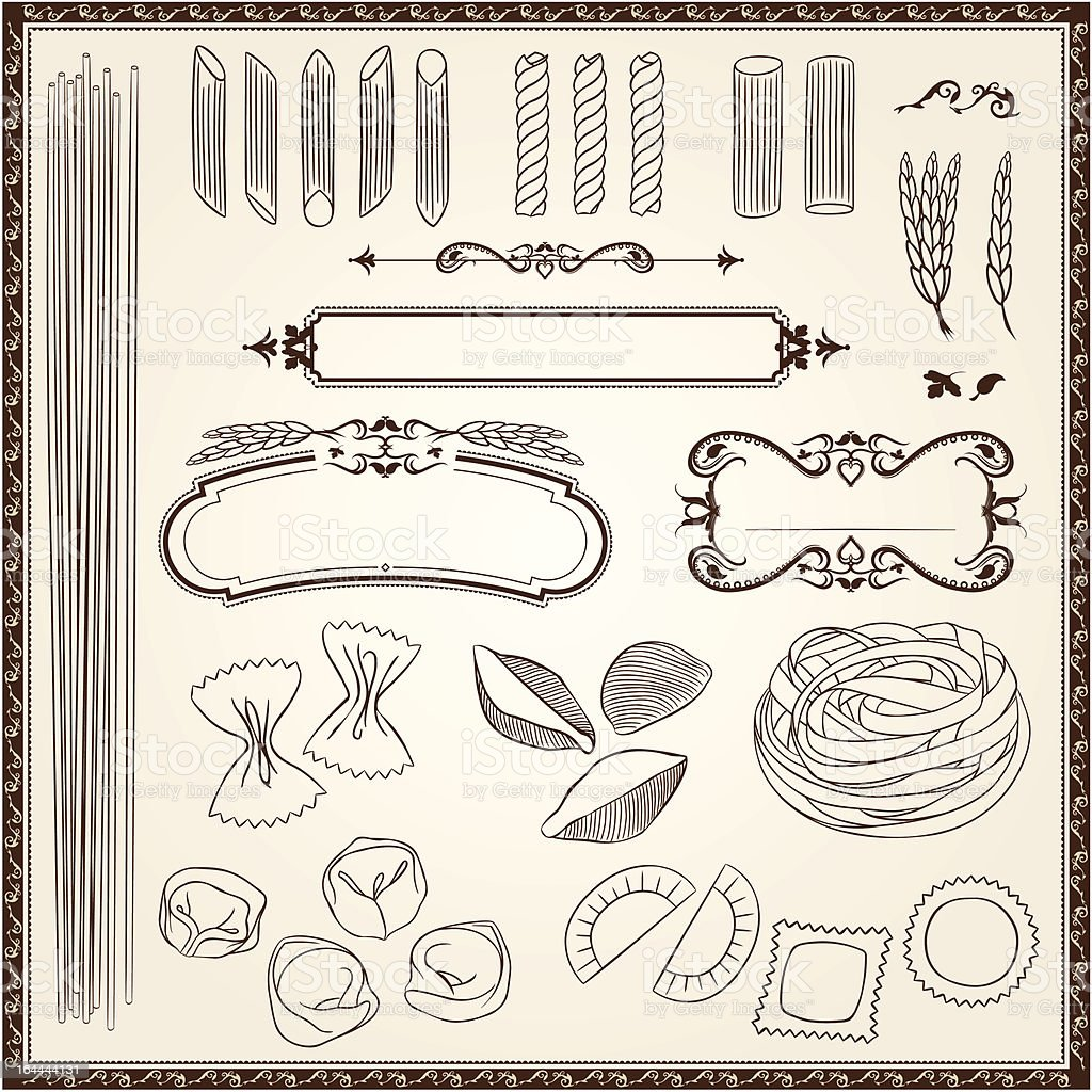 Outline Pasta Set royalty-free stock vector art