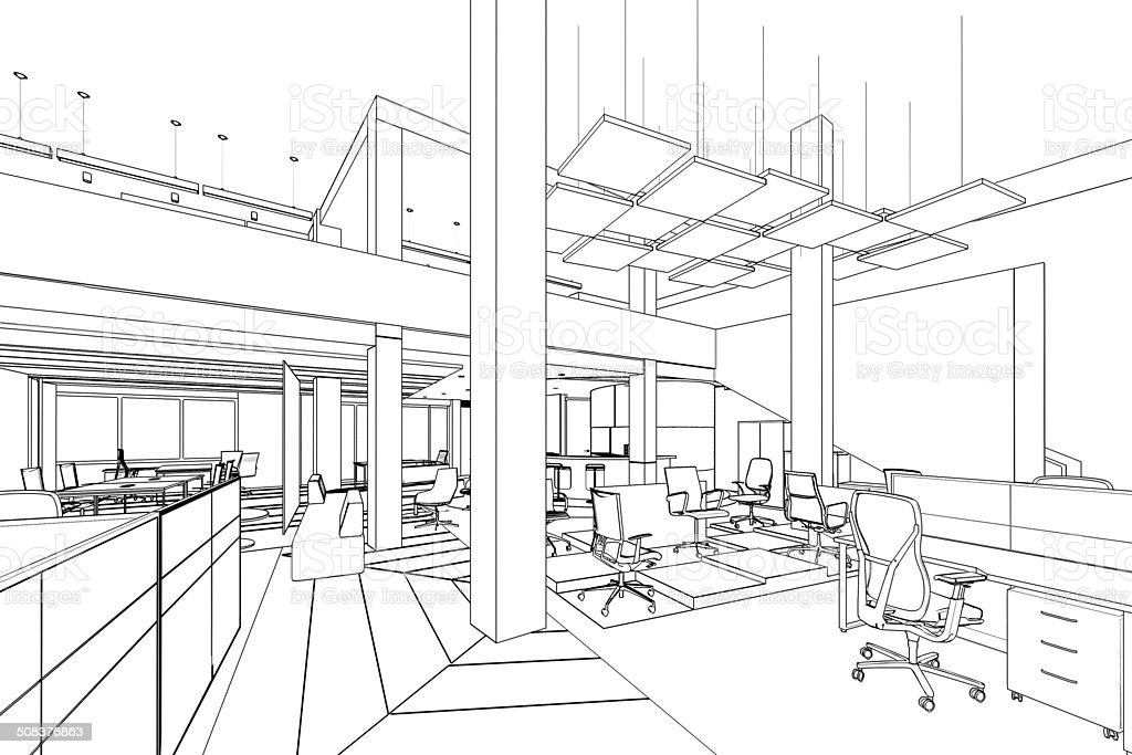 outline sketch of a interior office area vector art illustration