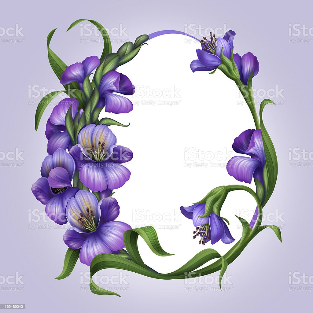 oval frame with beautiful lilac spring flower border royalty-free stock vector art