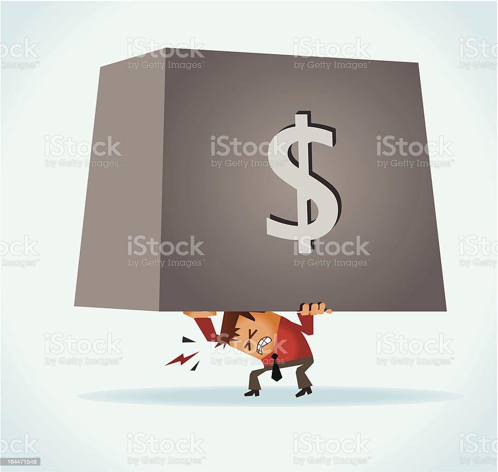 Overburdened of debt vector art illustration