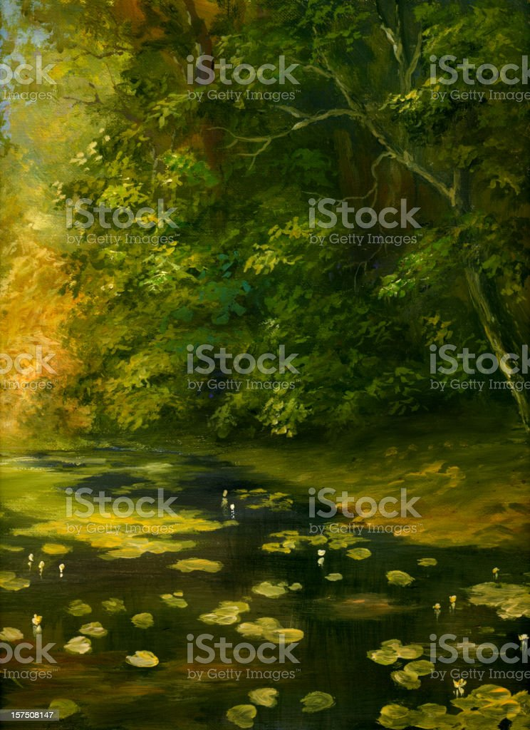 overgrown pond royalty-free stock vector art