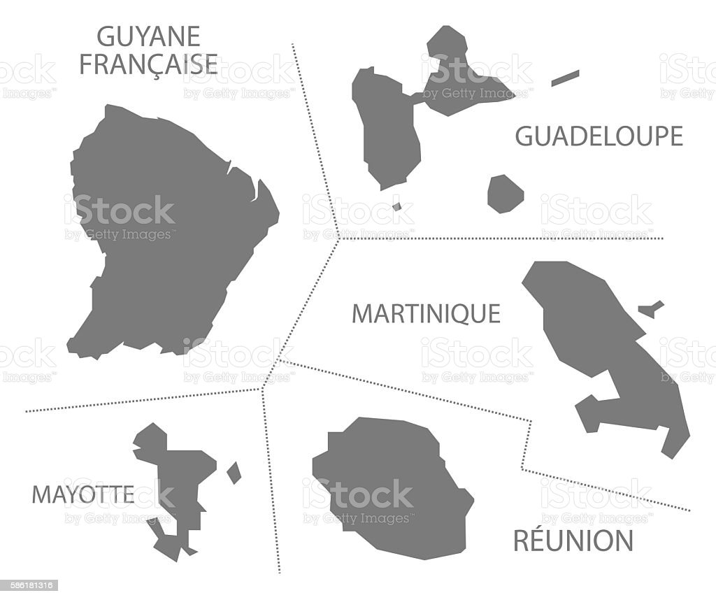 Oversea Departments France Map grey vector art illustration