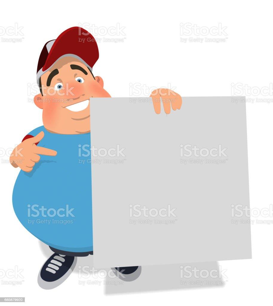 Overweight guy vector art illustration