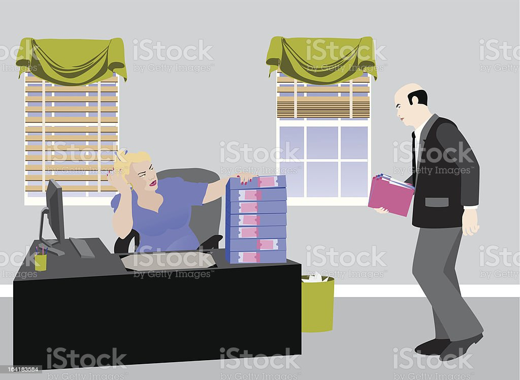 Overworked Secretary royalty-free stock vector art