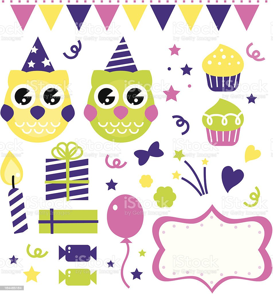 Owl birthday party design elements isolated on white royalty-free stock vector art