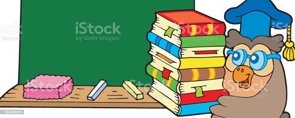 Owl teacher with books and blackboard royalty-free stock vector art